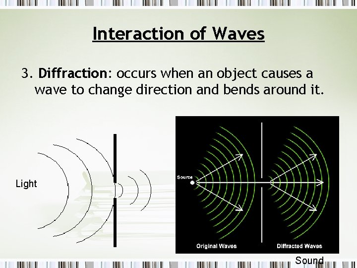 Interaction of Waves 3. Diffraction: occurs when an object causes a wave to change