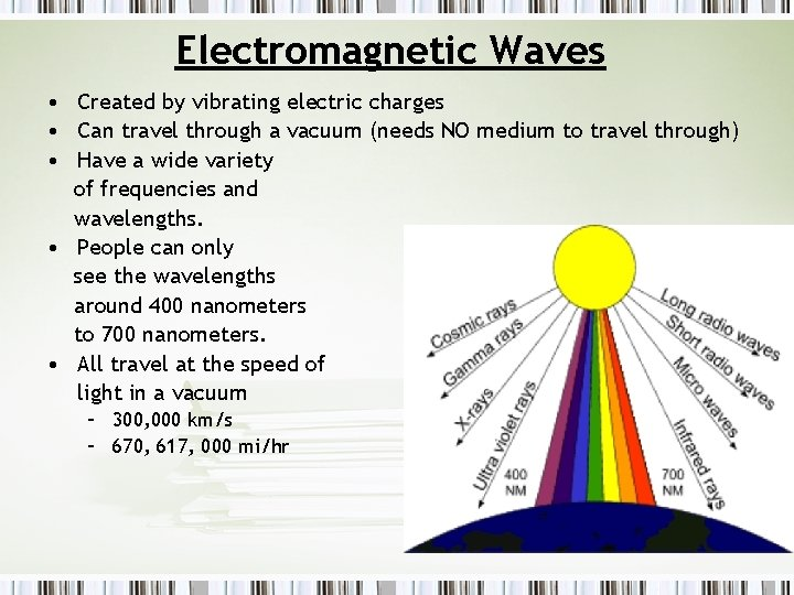 Electromagnetic Waves • Created by vibrating electric charges • Can travel through a vacuum