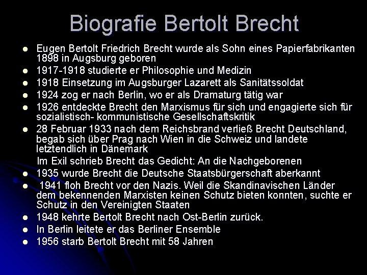 Internetrecherche Bertolt Brecht Deutsch Schreiben Daf Lesen 15