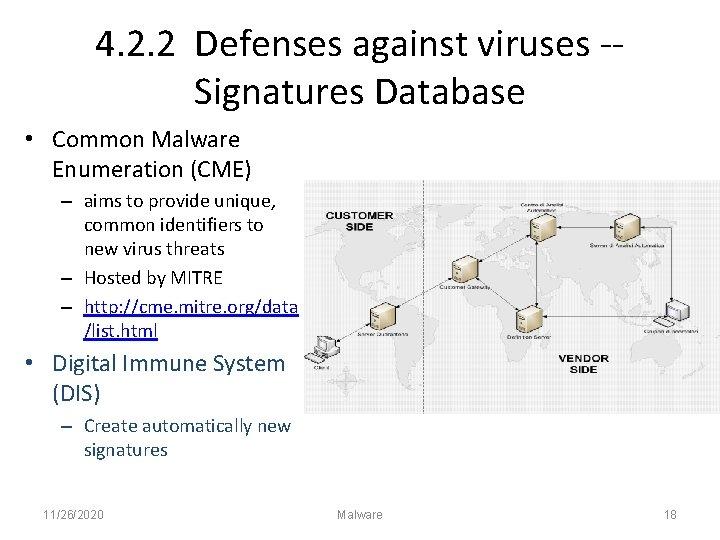 4. 2. 2 Defenses against viruses -Signatures Database • Common Malware Enumeration (CME) –
