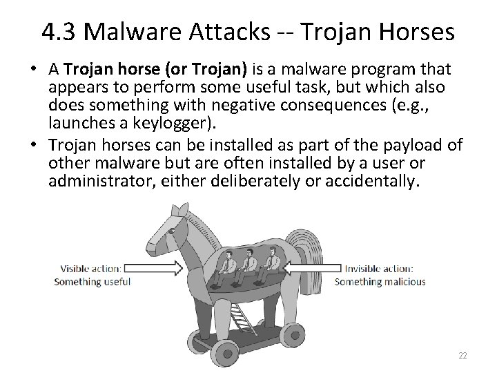 4. 3 Malware Attacks -- Trojan Horses • A Trojan horse (or Trojan) is