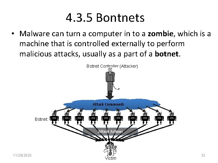 4. 3. 5 Bontnets • Malware can turn a computer in to a zombie,