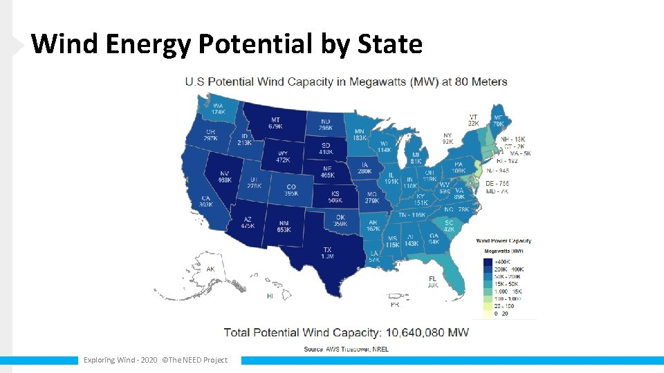 Wind Energy Potential by State Exploring Wind - 2020 ©The NEED Project