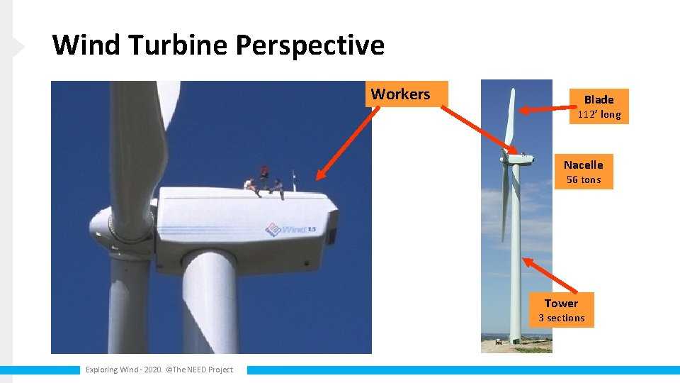 Wind Turbine Perspective Workers Blade 112' long Nacelle 56 tons Tower 3 sections Exploring
