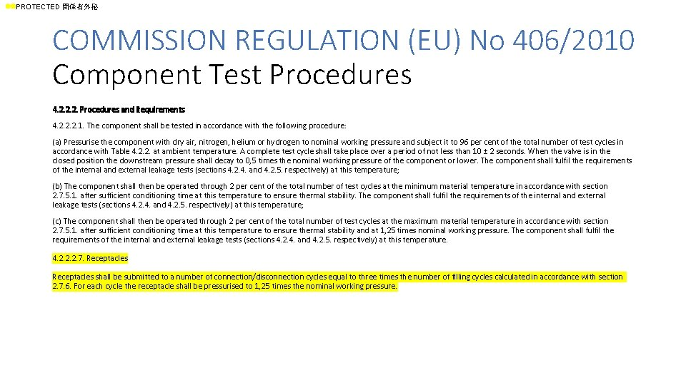 ll. PROTECTED 関係者外秘 COMMISSION REGULATION (EU) No 406/2010 Component Test Procedures 4. 2. 2.