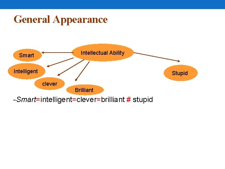 General Appearance Intellectual Ability Smart Intelligent Stupid clever Brilliant -Smart=intelligent=clever=brilliant # stupid