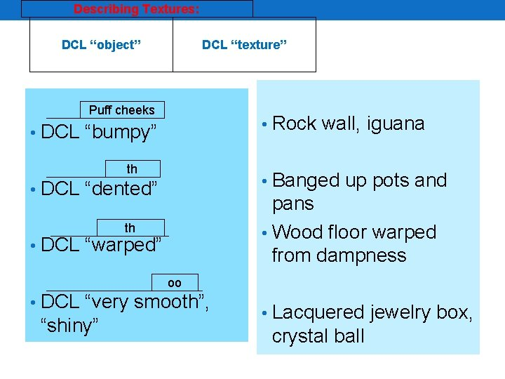 "Describing Textures: DCL ""object"" DCL ""texture"" Puff cheeks • Rock wall, iguana • DCL"