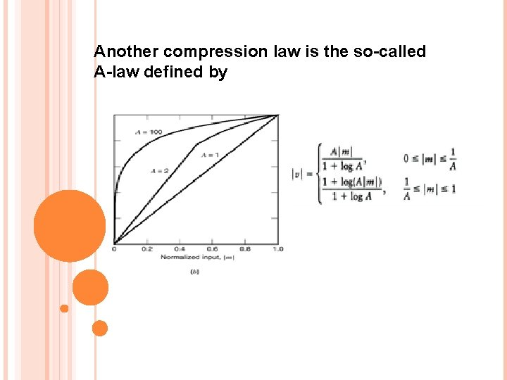 Another compression law is the so-called A-law defined by