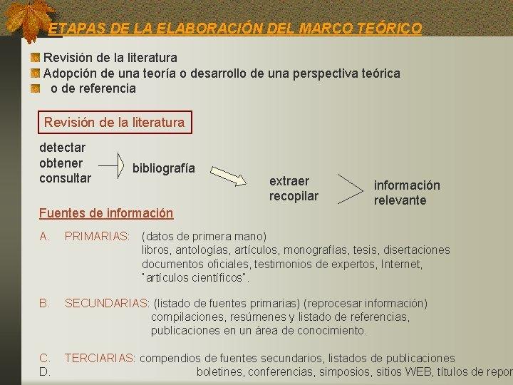 ETAPAS DE LA ELABORACIÓN DEL MARCO TEÓRICO Revisión de la literatura Adopción de una