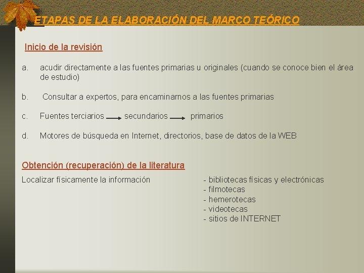 ETAPAS DE LA ELABORACIÓN DEL MARCO TEÓRICO Inicio de la revisión a. acudir directamente