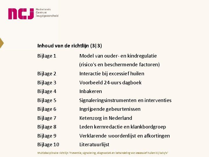 Inhoud van de richtlijn (3 3) Bijlage 1 Model van ouder- en kindregulatie (risico's en