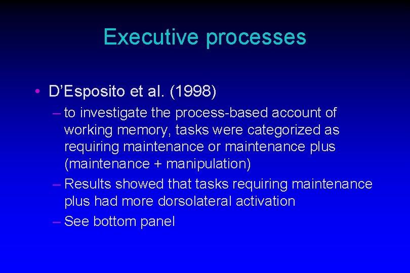 Executive processes • D'Esposito et al. (1998) – to investigate the process-based account of