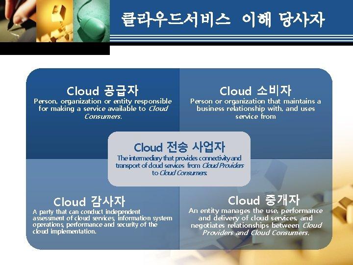 클라우드서비스 이해 당사자 Cloud 공급자 Person, organization or entity responsible for making a service