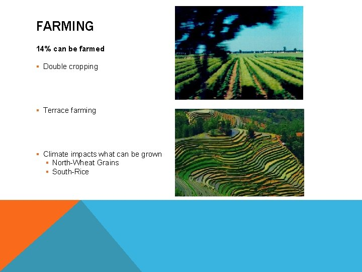 FARMING 14% can be farmed § Double cropping § Terrace farming § Climate impacts
