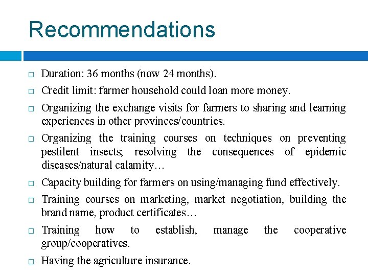 Recommendations Duration: 36 months (now 24 months). Credit limit: farmer household could loan more