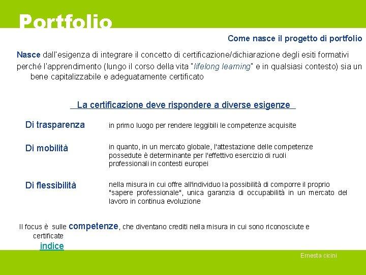 Portfolio Come nasce il progetto di portfolio Nasce dall'esigenza di integrare il concetto di