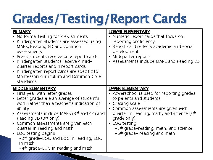 Grades/Testing/Report Cards PRIMARY • No formal testing for Pre. K students • Kindergarten students