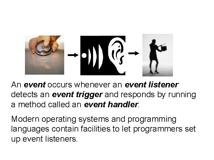 An event occurs whenever an event listener detects an event trigger and responds by