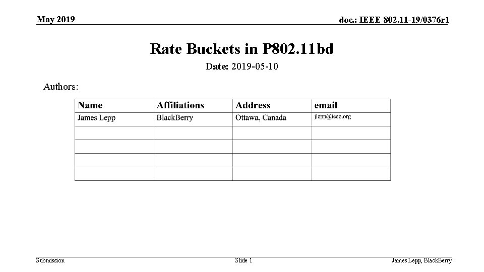 May 2019 doc. : IEEE 802. 11 -19/0376 r 1 Rate Buckets in P