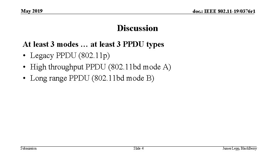 May 2019 doc. : IEEE 802. 11 -19/0376 r 1 Discussion At least 3
