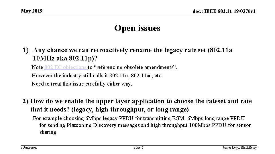 May 2019 doc. : IEEE 802. 11 -19/0376 r 1 Open issues 1) Any