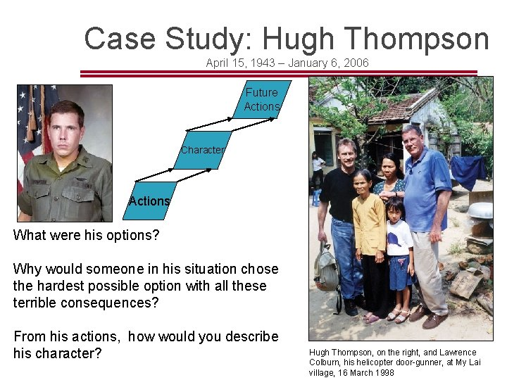 Case Study: Hugh Thompson April 15, 1943 – January 6, 2006 Future Actions Character