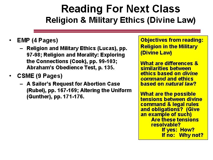 Reading For Next Class Religion & Military Ethics (Divine Law) • EMP (4 Pages)