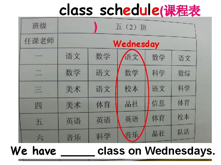 class schedule(课程表 ) Wednesday We have class on Wednesdays.