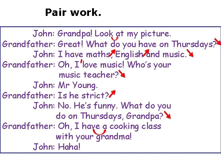 Pair work. John: Grandpa! Look at my picture. Grandfather: Great! What do you have