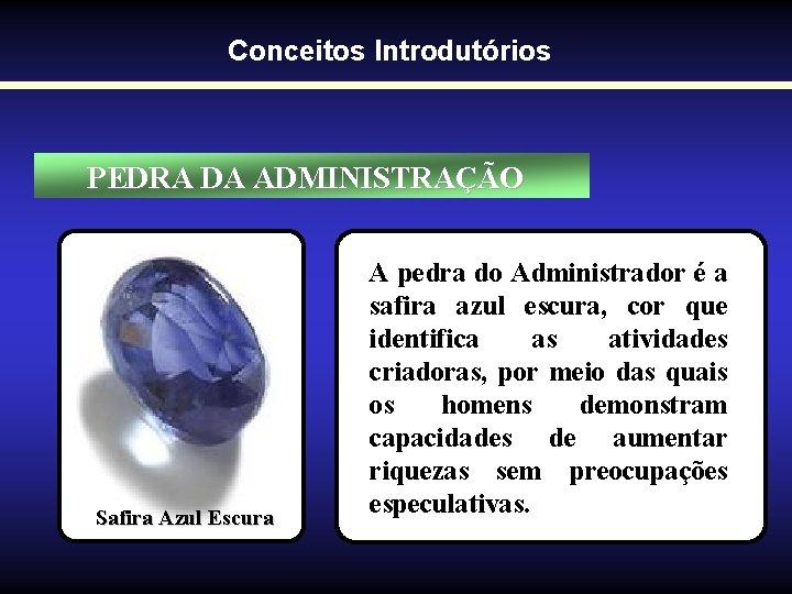 Conceitos Introdutórios PEDRA DA ADMINISTRAÇÃO Safira Azul Escura A pedra do Administrador é a