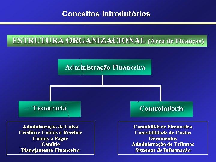 Conceitos Introdutórios ESTRUTURA ORGANIZACIONAL (Área de Finanças) Administração Financeira Tesouraria Controladoria Administração de Caixa