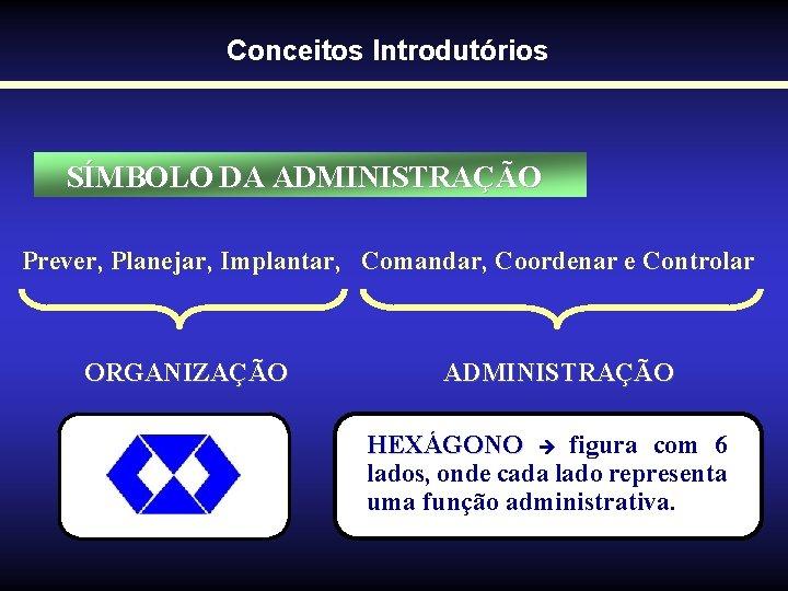 Conceitos Introdutórios SÍMBOLO DA ADMINISTRAÇÃO Prever, Planejar, Implantar, Comandar, Coordenar e Controlar ORGANIZAÇÃO ADMINISTRAÇÃO