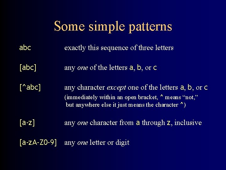 Some simple patterns abc exactly this sequence of three letters [abc] any one of