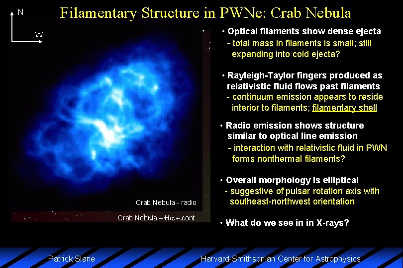 Filamentary Structure in PWNe: Crab Nebula N • Optical filaments show dense ejecta -