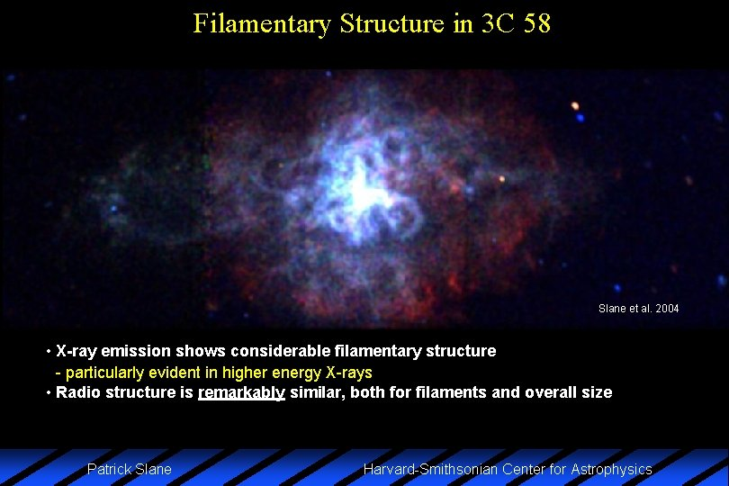 Filamentary Structure in 3 C 58 Slane et al. 2004 • X-ray emission shows