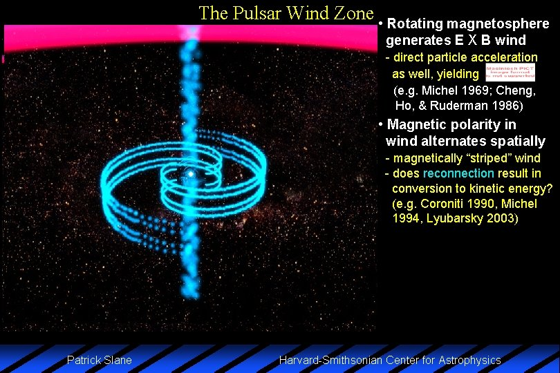 The Pulsar Wind Zone • Rotating magnetosphere generates E X B wind - direct