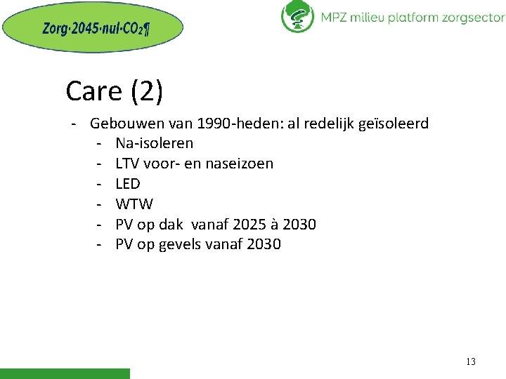 Care (2) - Gebouwen van 1990 -heden: al redelijk geïsoleerd - Na-isoleren - LTV