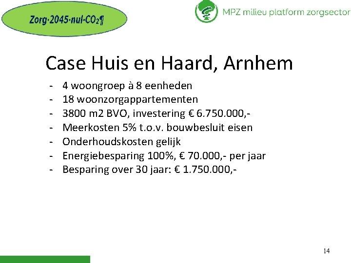 Case Huis en Haard, Arnhem - 4 woongroep à 8 eenheden 18 woonzorgappartementen 3800