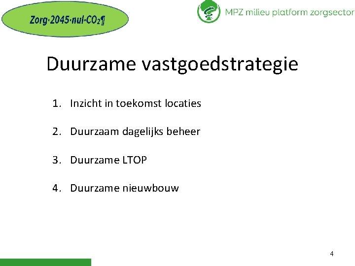 Duurzame vastgoedstrategie 1. Inzicht in toekomst locaties 2. Duurzaam dagelijks beheer 3. Duurzame LTOP