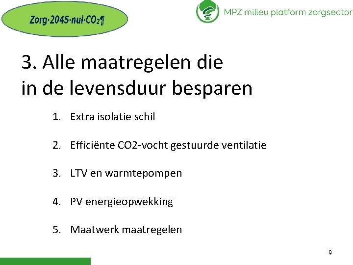 3. Alle maatregelen die in de levensduur besparen 1. Extra isolatie schil 2. Efficiënte