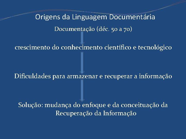 Origens da Linguagem Documentária Documentação (déc. 50 a 70) crescimento do conhecimento científico e
