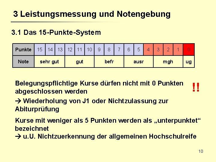 3 Leistungsmessung und Notengebung 3. 1 Das 15 -Punkte-System Punkte Note 15 14 13