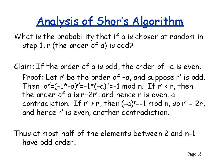 Analysis of Shor's Algorithm What is the probability that if a is chosen at