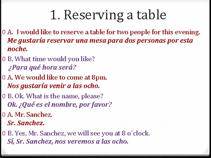 1. Reserving a table 0 A. I would like to reserve a table for