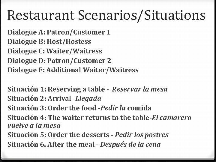 Restaurant Scenarios/Situations Dialogue A: Patron/Customer 1 Dialogue B: Host/Hostess Dialogue C: Waiter/Waitress Dialogue D: