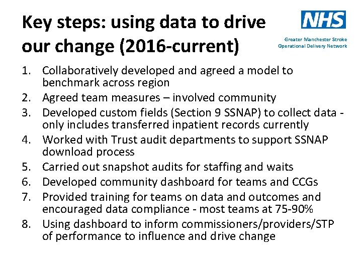 Key steps: using data to drive our change (2016 -current) Greater Manchester Stroke Operational