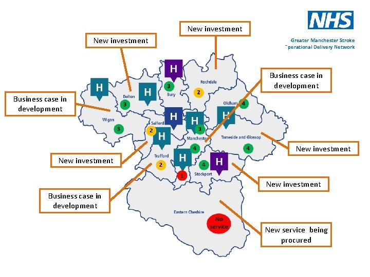 New investment Greater Manchester Stroke Operational Delivery Network Business case in development New investment