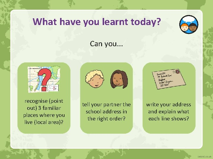 What have you learnt today? Can you. . . recognise (point out) 3 familiar
