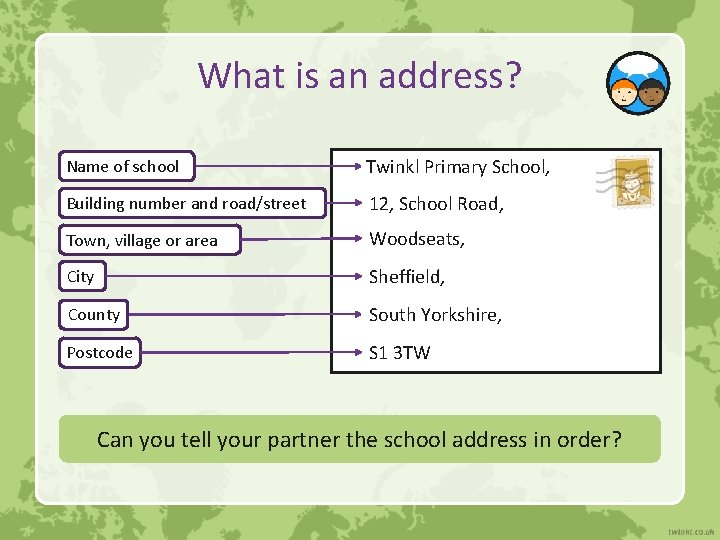 What is an address? Name of school Twinkl Primary School, Building number and road/street