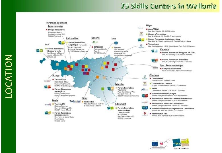 LOCATION 25 Skills Centers in Wallonia
